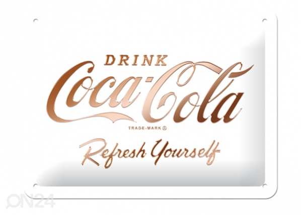 Retro metallposter Coca-Cola logo, valge 15x20 cm SG-196802