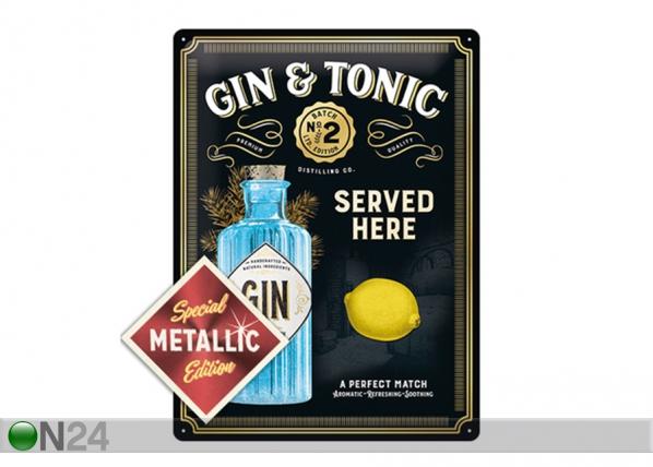 Retro metallposter Gin Tonic Served Here Metallic 30x40 cm SG-196815