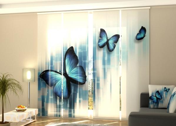 Pimentävä paneeliverho Blue butterflies 240x240 cm40 cm ED-218080
