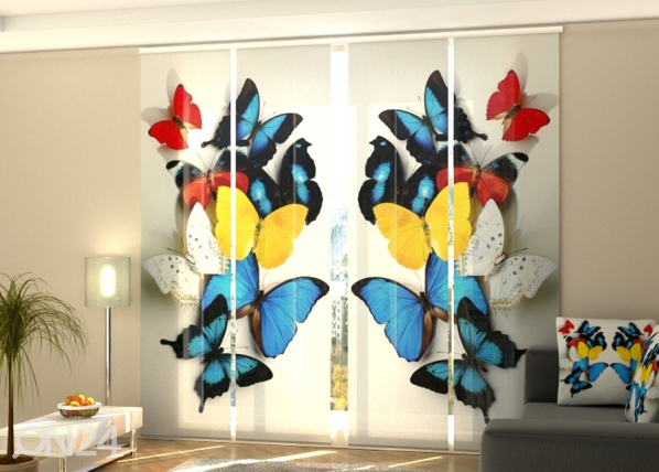 Pimentävä paneeliverho Colorful butterflies 1 240x240 cm ED-218090