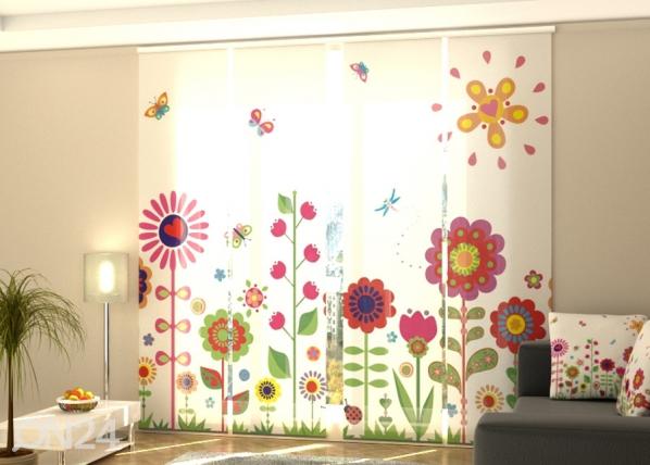Puolipimentävä paneeliverho Flowers and sun 240x240 cm ED-218098