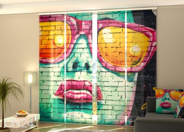 Pimentävä paneeliverho Graffiti in Birmingham 240x240 cm ED-218566