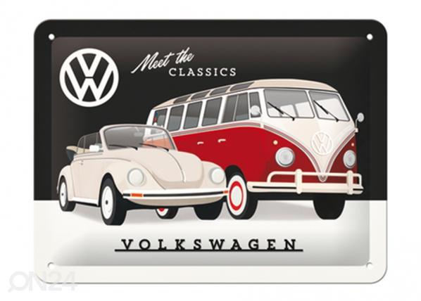 Металлический постер в ретро-стиле VW - Meet the Classic 15x20 см SG-220210