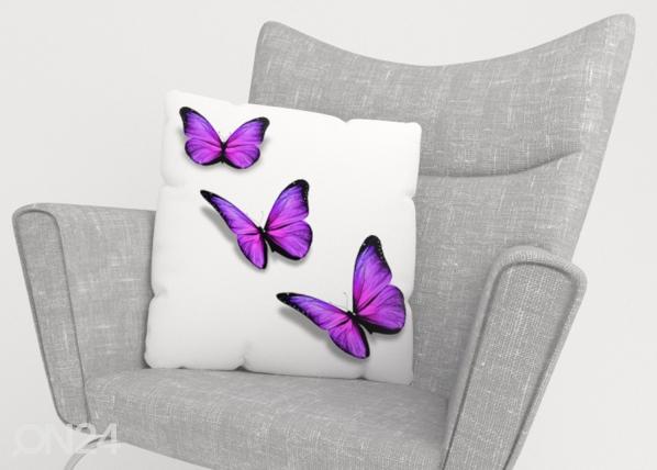 Koristetyynyliina Purple Butterfly ED-222856
