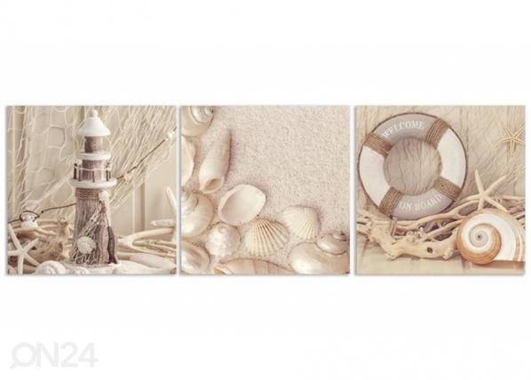 Kolmeosainen seinätaulu Lantern and shells ED-223019
