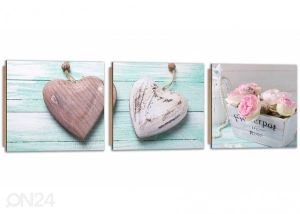 Kolmeosainen seinätaulu Wooden hearts ED-224216