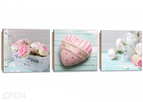 Kolmeosainen seinätaulu Pink heart ED-224222