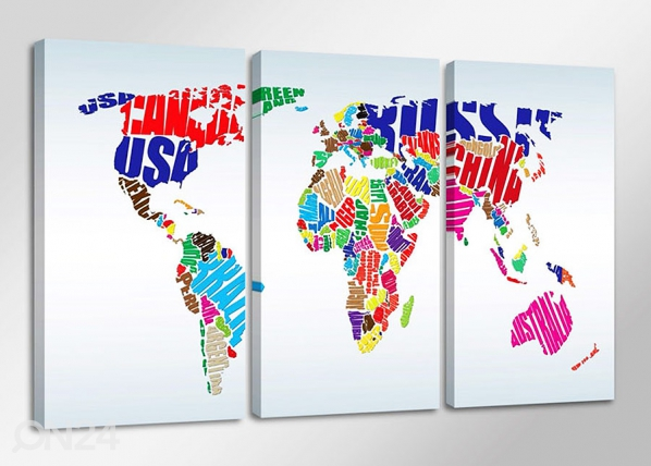 Kolmeosaline seinapilt Worldmap ED-67564
