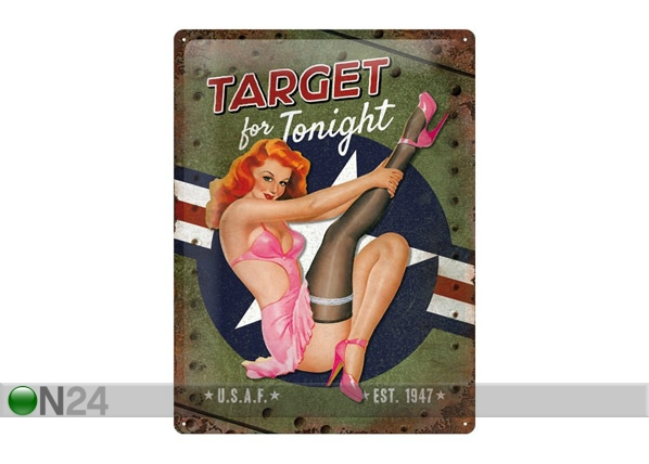 Retro metallijuliste Target for Tonight 30x40 cm SG-68166
