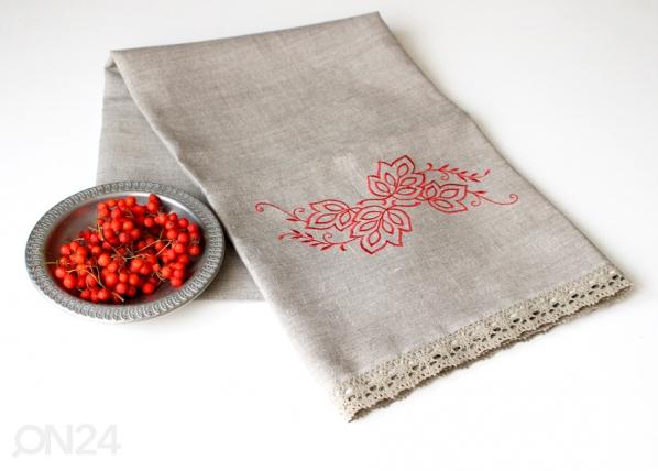 Pellava pyyheliina punainen kuvio KO-69384