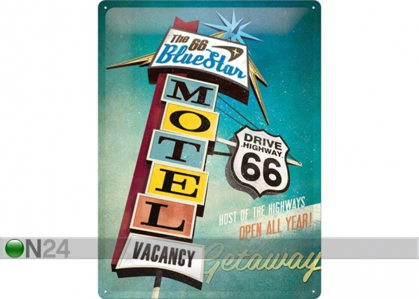 Retro metallposter The 66 Blue Star Motel 30x40cm SG-74269
