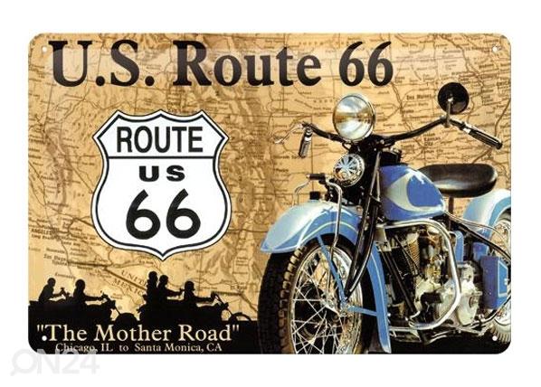 Retro metallijuliste Route 66 sininen moottoripyörä 20x30 cm SG-78915