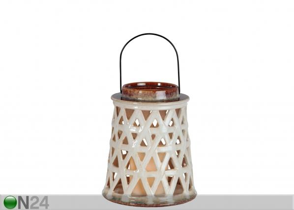 Keraaminen lyhty+LED-kynttilä AA-84917