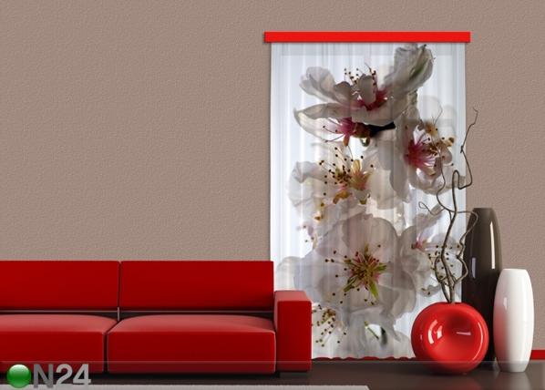 Puolipimentävä fotoverho FLOWERS 140x245 cm ED-87445