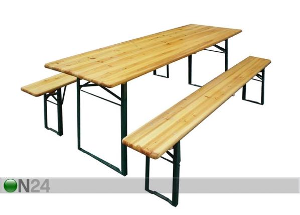 Kokoontaitettava festarisetti, pöytä 50x220 cm + 2 penkkiä VV-90342