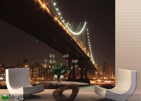 Fliis-fototapeet Bridge at night 360x270 cm ED-90568