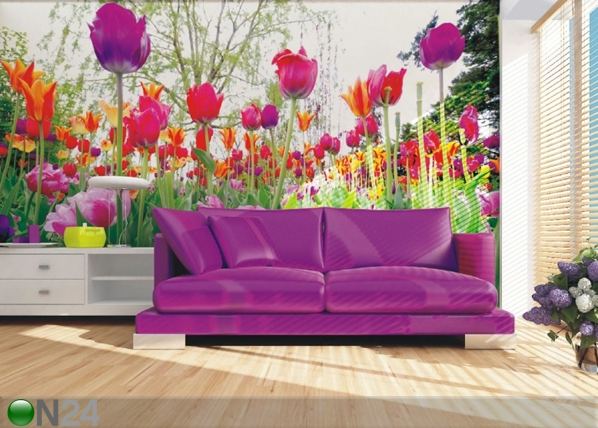 Fleece-kuvatapetti TULIPS AND PEONIES 360x270 cm ED-90697