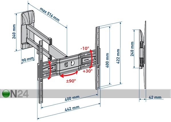 TV-seinäteline SlimStyle 400 SDR musta HG-91045