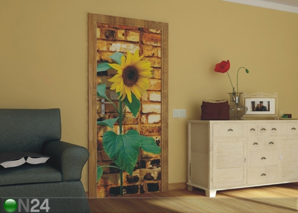 Fliis-fototapeet Sunflower with bricks 90x202 cm ED-91119