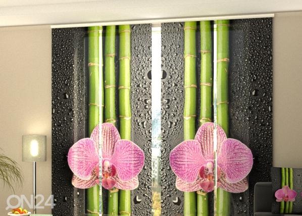 Läpinäkyvä paneeliverho ORCHIDS AND BAMBOO 2, 240x240 cm, Wellmira