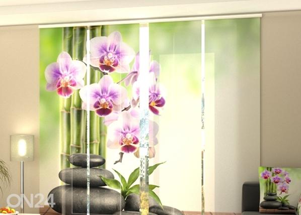 Puolipimentävä paneeliverho ORCHIDS AND STONES 240x240 cm, Wellmira