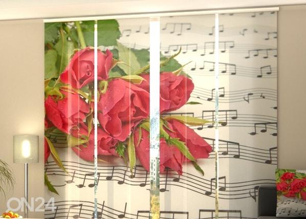 Puolipimentävä paneeliverho ROSES AND NOTES 240x240 cm, Wellmira