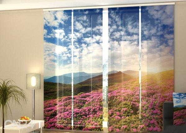 Puolipimentävä paneeliverho FLOWERS AND MOUNTAINS 240x240 cm, Wellmira