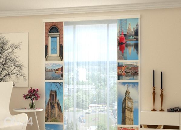 Läpinäkyvä paneeliverho LONDON ATTRACTIONS 80x240 cm, Wellmira