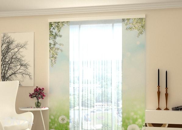 Puolipimentävä paneeliverho WHITE DANDELIONS 80x240 cm, Wellmira