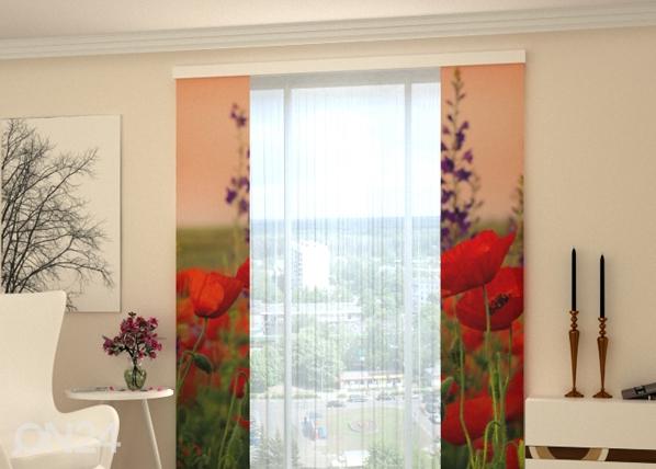 Läpinäkyvä paneeliverho WONDERFUL POPPIES 80x240 cm, Wellmira