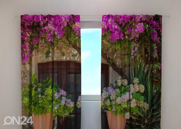 Puolipimentävä verho FLOWERS IN POTS 240x220 cm, Wellmira