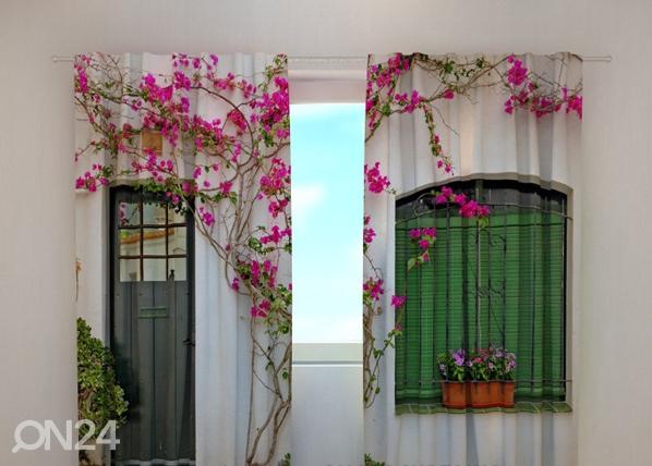 Läpinäkyvä verho FLOWERS ON THE WINDOW 240x220 cm, Wellmira