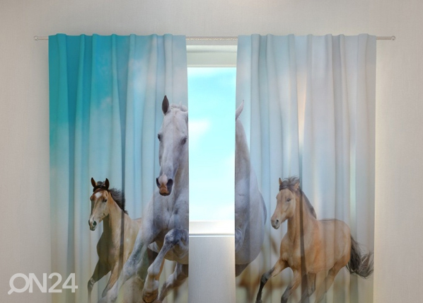 Läpinäkyvä verho HORSES 240x220 cm, Wellmira