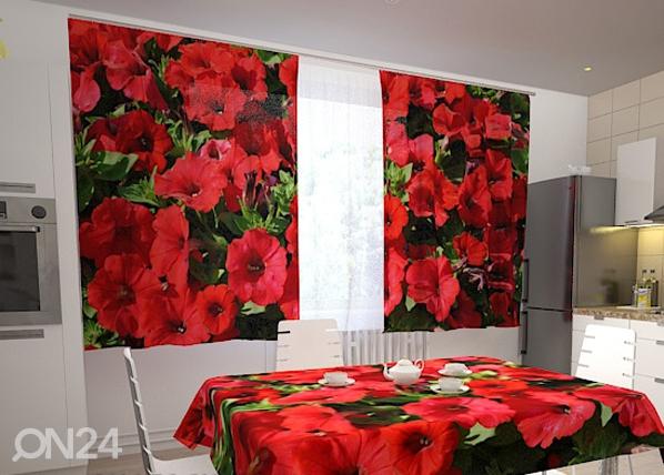 Läpinäkyvä verho RED PETUNIAS 200x120 cm, Wellmira