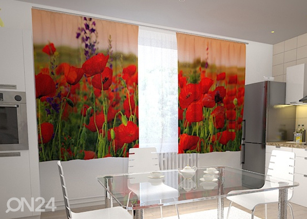 Puolipimentävä verho WONDERFUL POPPIES 200x120 cm, Wellmira
