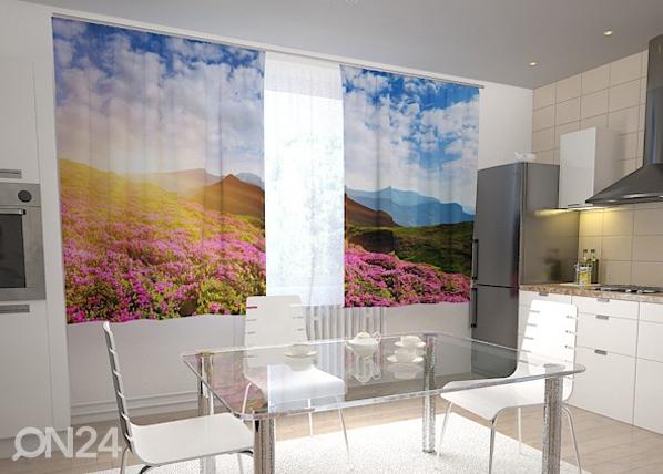 Läpinäkyvä verho FLOWERS AND MOUNTAINS 200x120 cm, Wellmira