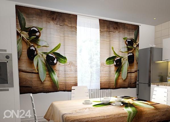 Läpinäkyvä verho BLACK OLIVES IN THE KITCHEN 200x120 cm, Wellmira