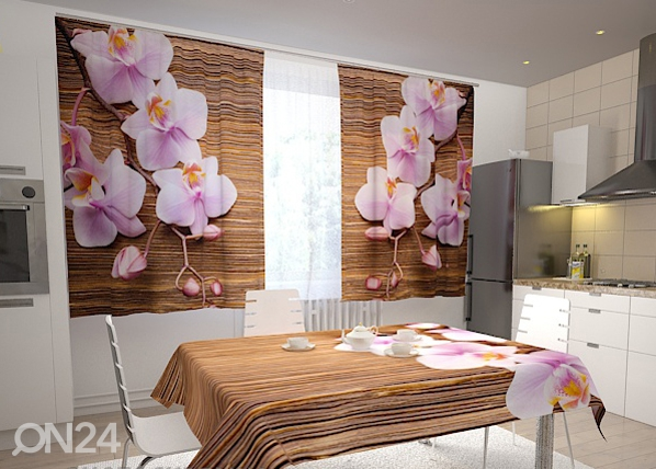 Puolipimentävä verho ORCHIDS AND TREE IN THE KITCHEN 200x120 cm, Wellmira