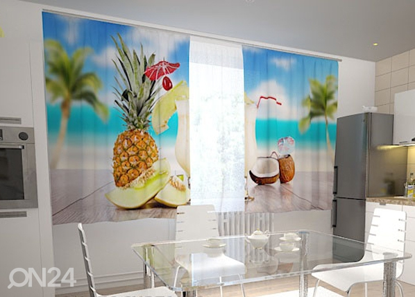 Puolipimentävä verho HAWAII IN THE KITCHEN 200x120 cm, Wellmira
