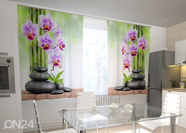 Puolipimentävä verho ORCHIDS AND STONES IN THE KITCHEN 200x120 cm, Wellmira