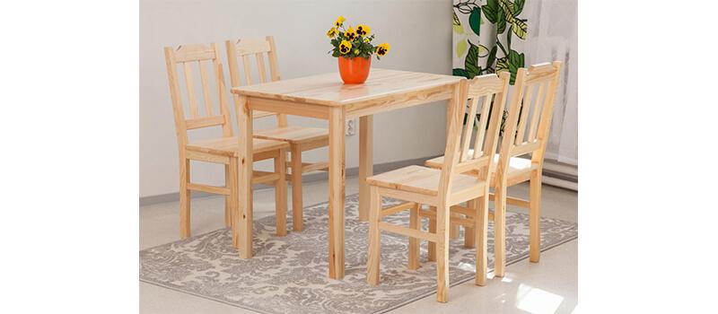 Mänty-ruokapöytä