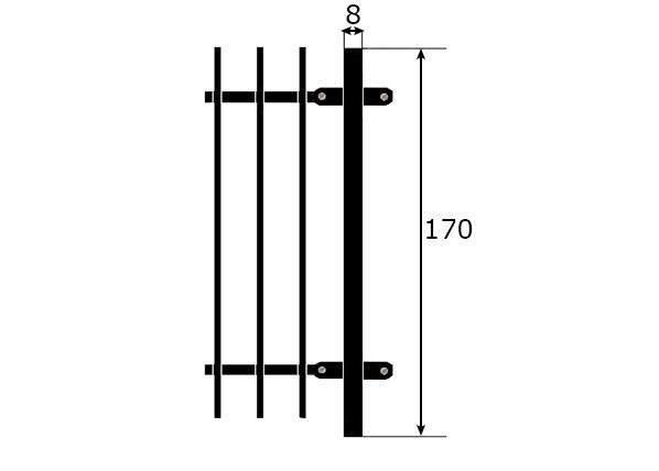 Metalliaita tolppa 1,7 m