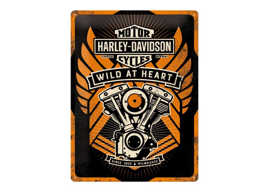 Retro metallijuliste Harley-Davidson Wild at Heart 30x40 cm