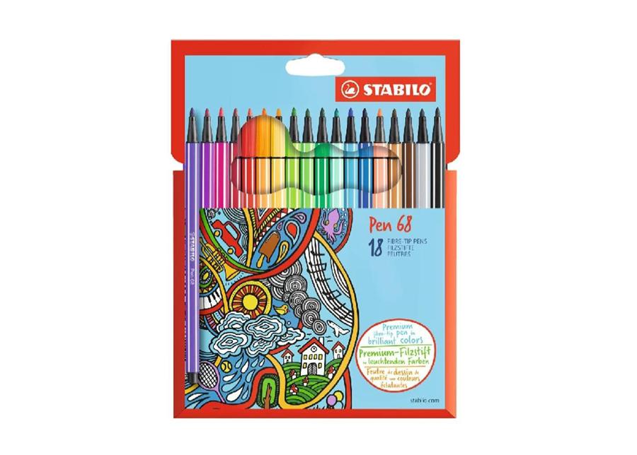 Stabilo kuitukärkikynät Pen 68, 18 väriä