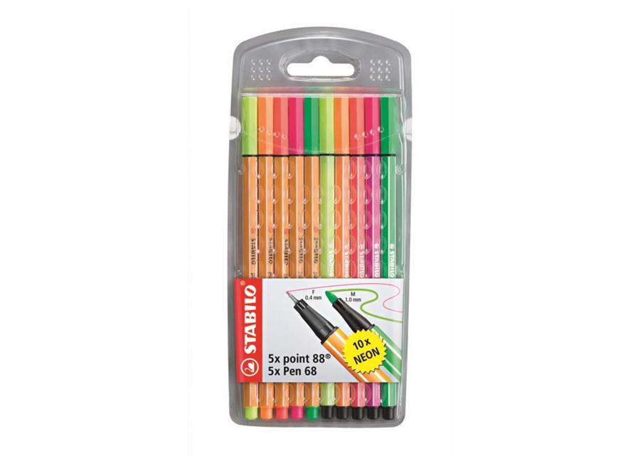 Stabilo kuitukärkikynät Point 88, 5 väriä + Pen68, 5 väriä