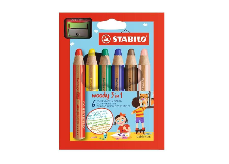 Värikynät STABILO WOODY+teroitin 6 väriä