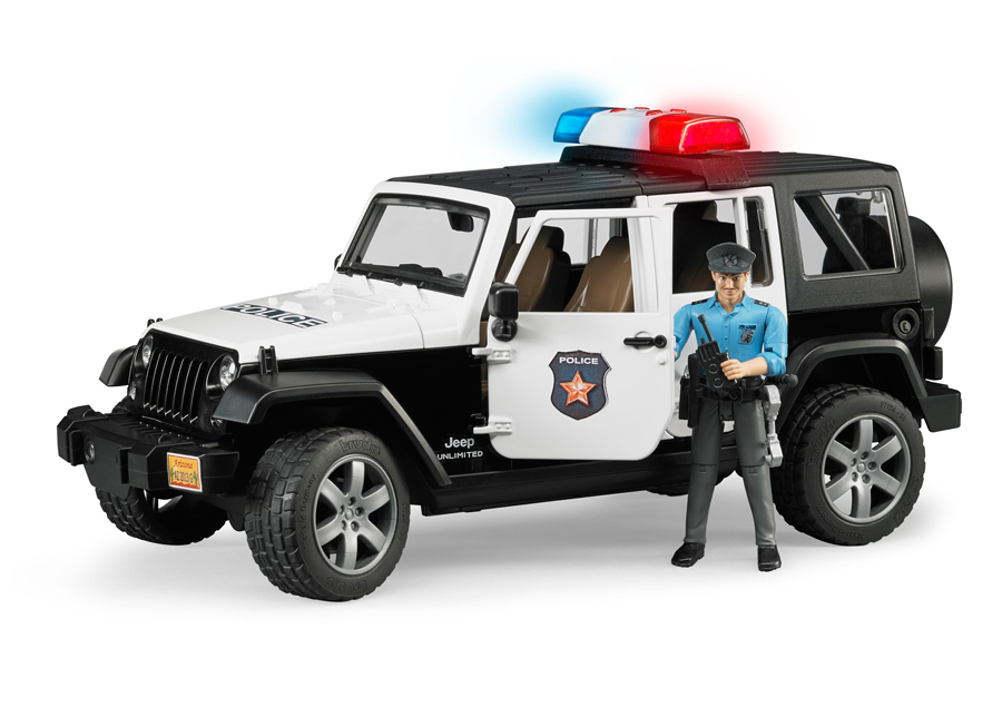JEEP WRANGLES poliisiauto äänellä ja valolla 1:16 BRUDER