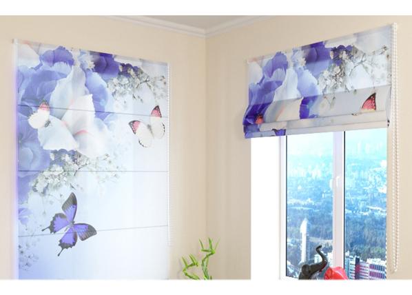 Puolipimentävä laskosverho BLUE IRISES 100x120 cm