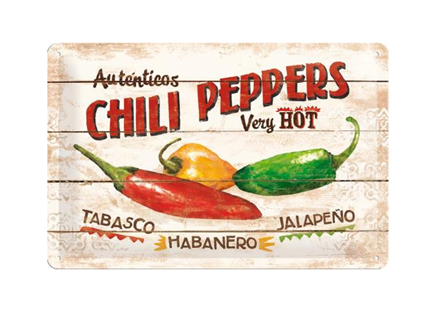 Retro metallijuliste CHILLI PEPPRS 20x30 cm