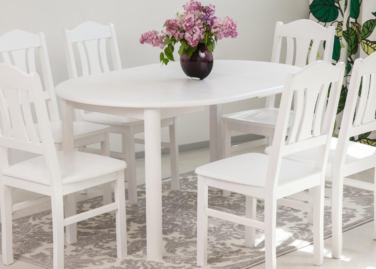 Jatkettava ruokapöytä 100x100-139 cm, valkoinen